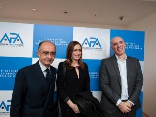 Con l'amministratore Delegato RAI Fabrizio Salini ed il Sottosegretario di Stato ai Beni Culturali Sen. Lucia Borgonzoni alla presentazione del 1^ Rapporto sulla produzione audiovisiva.